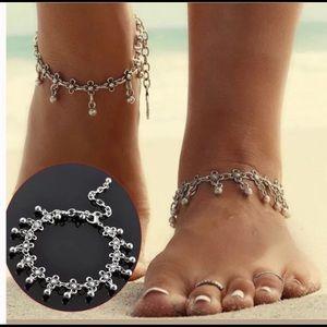 Jewelry - Ankle bracelet boho silver plated beaded NEW